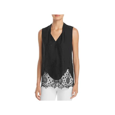 T Tahari Womens Daria Blouse Lace Trim V-Neck