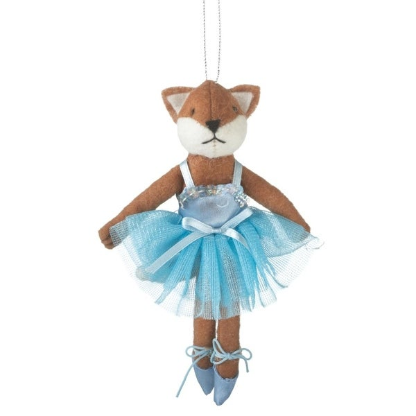 "6.25"" Plush Fox Ballerina Wearing Blue Tutu Ballet Dance Christmas Ornament"