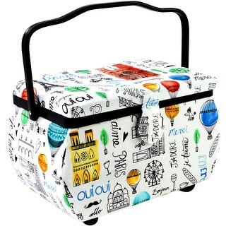"Sewing Basket Rectangle-10.5""X6""X7"" Paris Print"