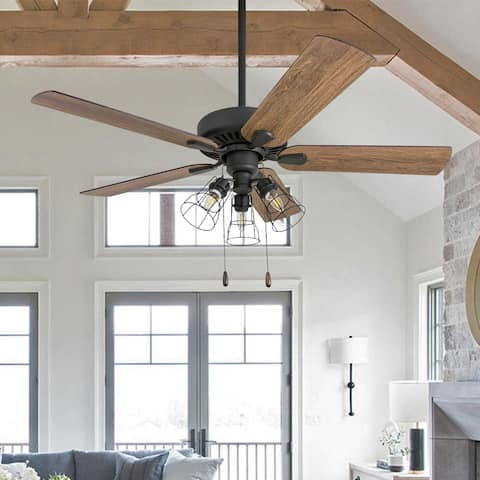 """Prominence Home Inland Seas Farmhouse 52"""" Aged Bronze LED Ceiling Fan"""