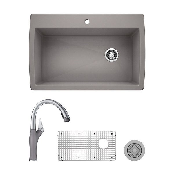 Blanco Diamond/Artona Dual Mount Kitchen Sink and Faucet Set and Strainer - N/A. Opens flyout.