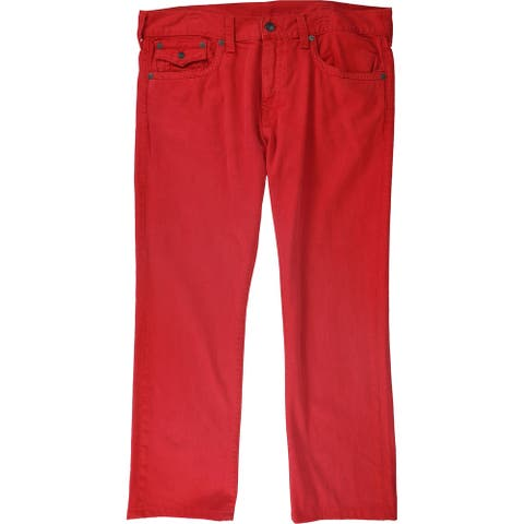 True Religion Mens Ricky Relaxed Jeans, red, 38W x 31L - 38W x 31L