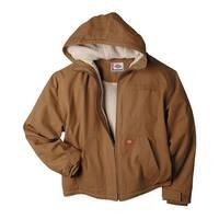 Dickies Men's Sanded Duck Sherpa Lined Hooded Jacket Brown Duck