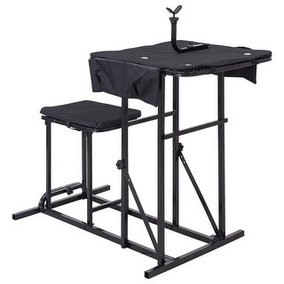 Gymax Folding Shooting Bench Seat with Adjustable Table Gun Rest Height Adjustable