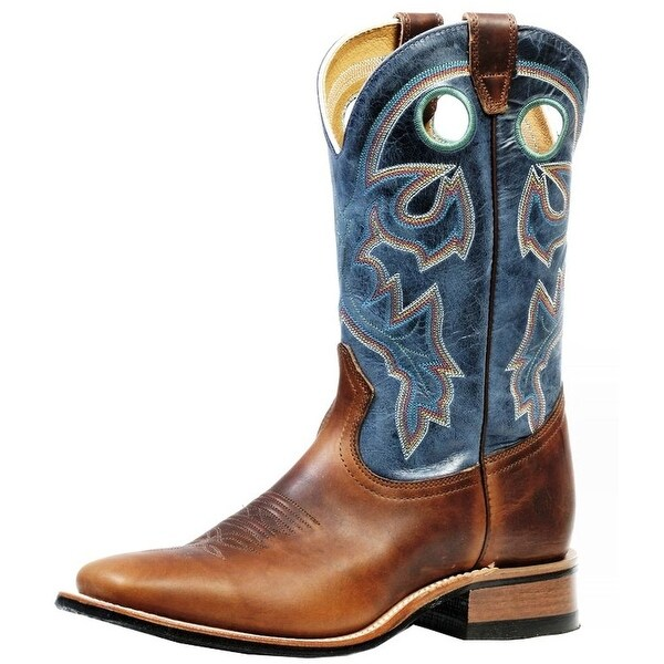 Boulet Western Boots Mens Cowboy Rider Square Grizzly Chestnut