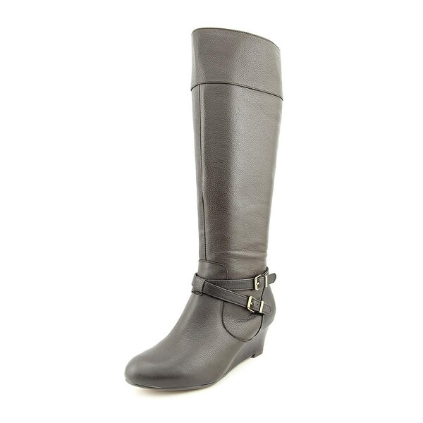Giani Bernini Kalie Women Round Toe Leather Brown Knee High Boot