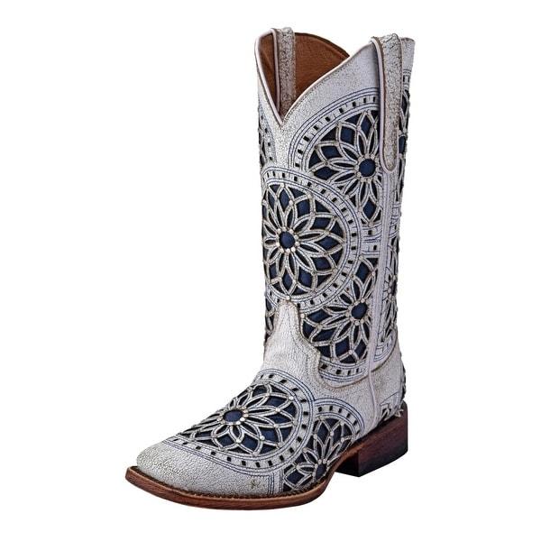 91824a1bd94 Ferrini Western Boots Womens Mandala Square Toe Cowboy White