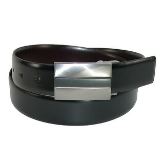 Kenneth Cole Reaction Men's Reverse to Burgundy Plaque Buckle Belt - black to burgundy