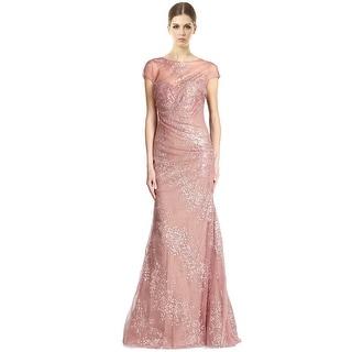 Rene Ruiz Draped Cap Sleeve Shimmer Tulle Evening Gown Dress