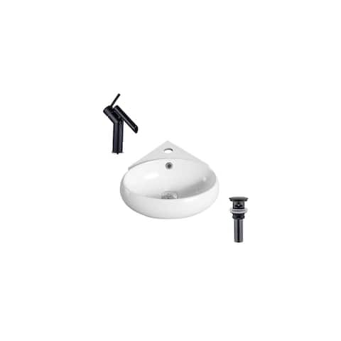 """Hazara 13.7""""W CUPC certified Oval Ceramic Wall Mount Bathroom Vessel Sink Set in White with Black Faucet and Drain - HZR-1272"""