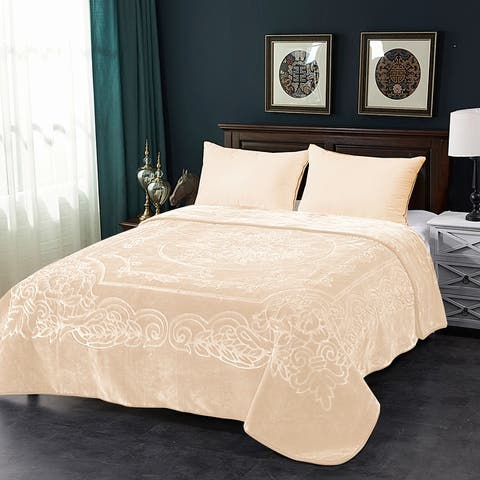 Luxury Warm Thick Fleece Blanket Premium Embossed Floral Bed Blanket