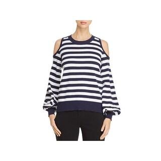 MICHAEL Michael Kors Womens Crewneck Sweater Cold Shoulder Striped