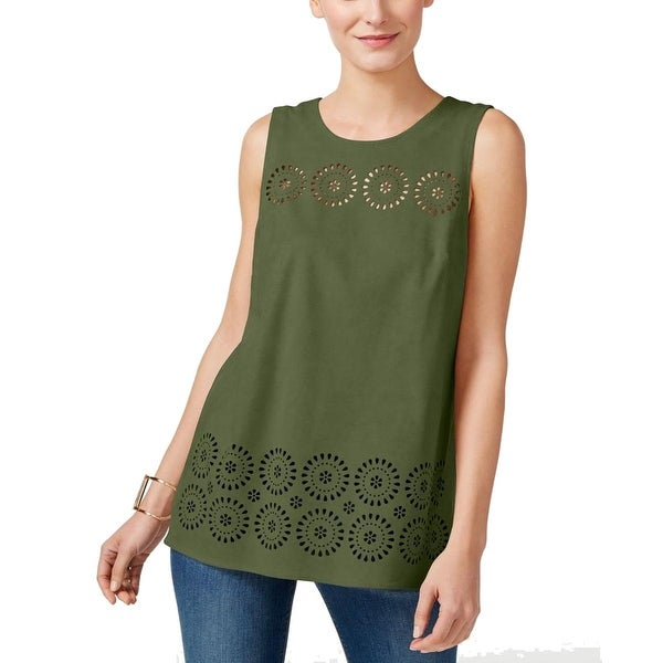 Vince Camuto Womens Casual Top Faux Suede Laser Cut