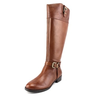 INC International Concepts Fedee Wide Calf Round Toe Leather Knee High Boot
