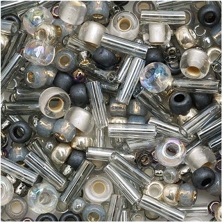 Toho Multi-Shape Glass Beads 'Tenin' Gray/Gold Color Mix 8 Gram Tube