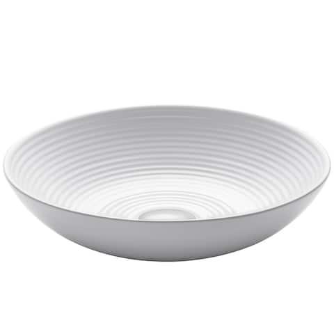 KRAUS 16 1/2 inch Viva Round White Ceramic Vessel Bathroom Sink