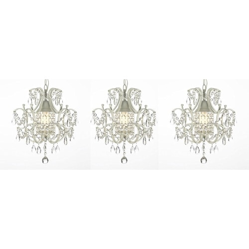 Set of 3 Wrought Iron and Crystal White Chandelier Pendants