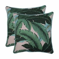 """Set of 2 Blue and Green Tropical Patterned Square Throw Pillows 18.5"""""""