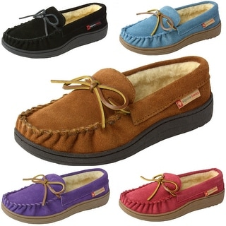 Link to Alpine Swiss Sabine Womens Suede Shearling Moccasin Slippers Similar Items in Women's Sweaters
