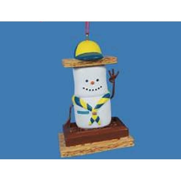 "3.5"" Boy Scouts Smores Marshmallow Boy Decorative Christmas Ornament"