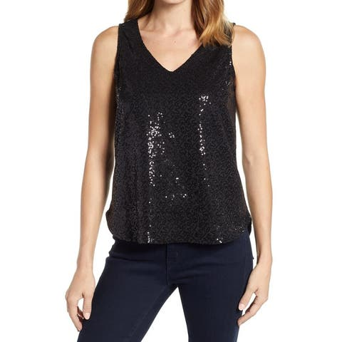 Gibson Womens Top Black Size Small S Tank V-Neck Sequined Sleeveless T