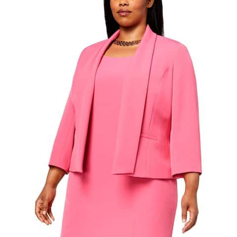 Kasper Womens Plus Open-Front Blazer 3/4 Sleeves Business