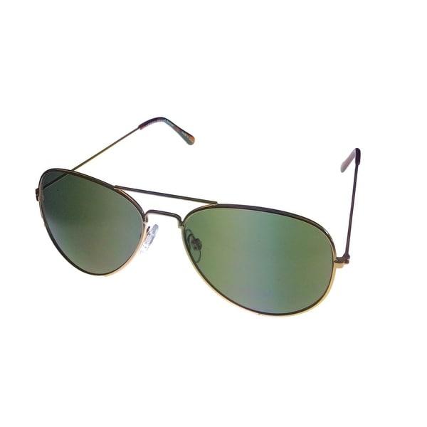 Perry Ellis Mens Sunglass PE47 5 Classic Gold Metal Avaitor, Solid Green Lens - Medium
