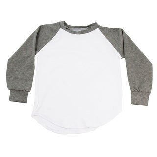 Unisex Little Kids Gray Two Tone Long Sleeve Raglan Baseball T-Shirt 6X