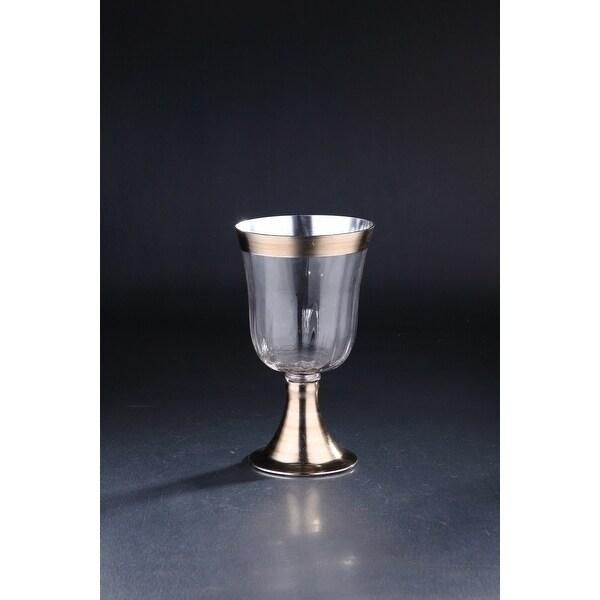 "11.5"" Clear and Silver Hand Blown Glass Hurricane Pillar Candle Holder - N/A"
