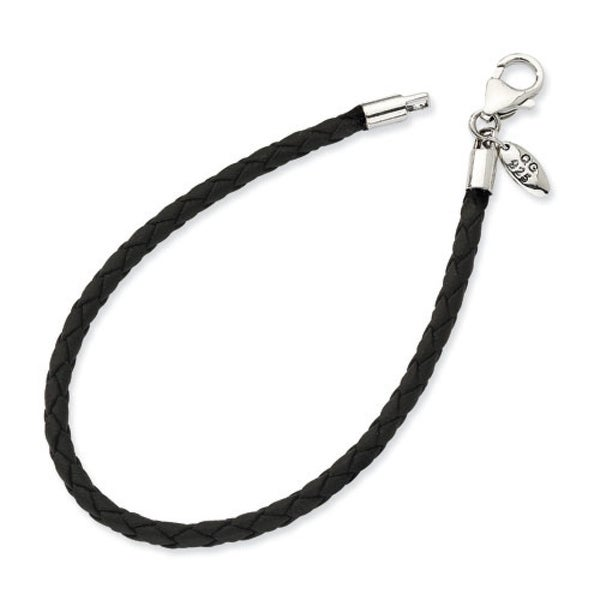 Sterling Silver Reflections Black Leather Bead Bracelet (3mm)