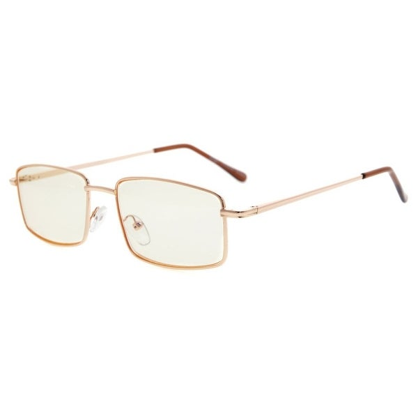 Eyekepper Spring Hinges Anti-Blue Ray/Anti-Strain Computer Reading Glasses (Gold/Amber Tinted Lens, +1.00)