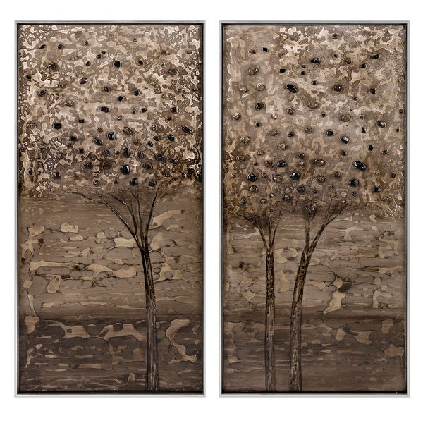 """Set of 2 Brown and Black Decorative Indoor Framed Oil Paintings 49"""" - N/A"""