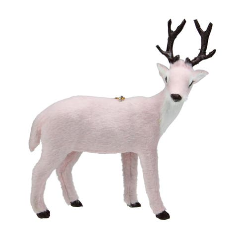 6 Blush Pink Furry Right Facing Reindeer Christmas Ornament - N/A