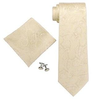 Men's Beige Paisley 100% Silk Neck Tie Set Cufflinks & Hanky 18403 - regular