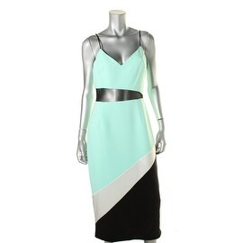 ABS Collection Womens Mixed Media Sheath Cocktail Dress - 10