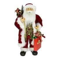 "24"" Poinsettia Standing Santa Claus Figure with ""Merry Christmas"" Gift Bag"