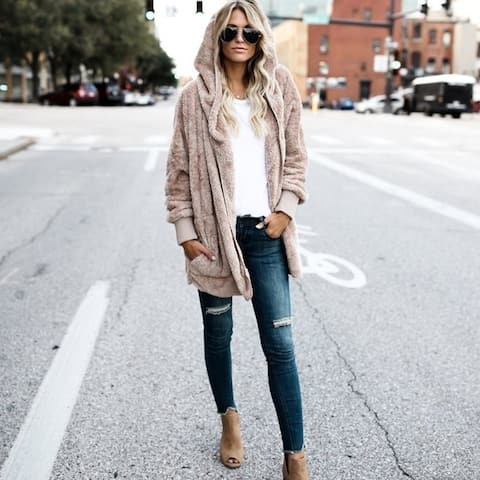 Mid-Length Two-Faced Wear Fur-Proof Jacket Blouse