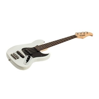 Monoprice Indio Mini Jamm Electric Bass - White With Gig Bag
