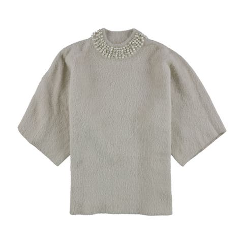 Alfani Womens Embellished Collar Pullover Sweater, beige, Large