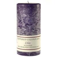 3 Pcs,  Textured 3x6 Lilac Pillar Candles 3 in. diameterx6.25 in. tall