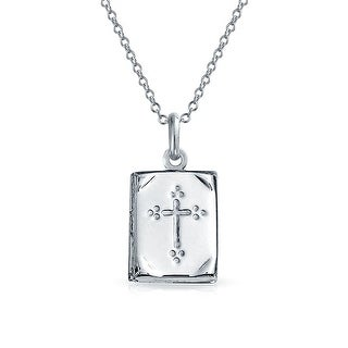 Book Bible Religious Cross Locket Pendant .925 Silver Necklace 18 Inch