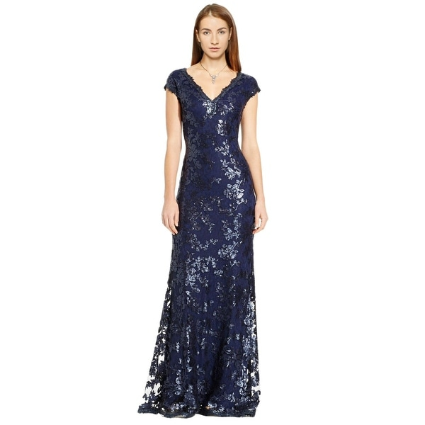 Adrianna Papell Sequin Embellished Cap Sleeve Evening Gown Dress - 8 ...