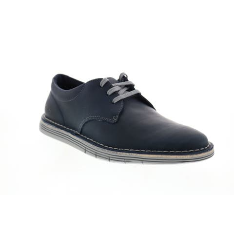 Clarks Forge Vibe Navy Leather Mens Plain Toe Oxfords & Lace Ups