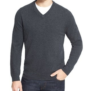 John W. Nordstrom NEW Gray Mens Large L V-Neck Cashmere Sweater