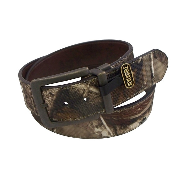 Realtree Western Belt Mens Genuine Leather Canvas Brown