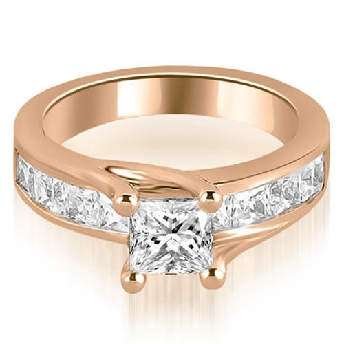 1.30 cttw. 14K Rose Gold Princess Cut Channel Engagement Diamond Ring