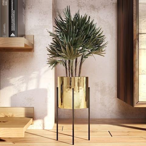 "Lonnie Mid Century Ceramic Planter - Gold - 13""H x 6.5""W x 6.5""D (Inside pot: 5.5""H x 6""W)"
