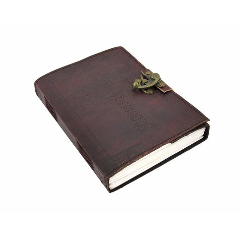 Embossed Leather Celtic Cross 120 Leaf Journal with Lock - brown