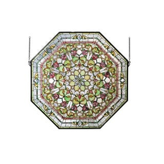 """Meyda Tiffany 107225 Front Hall Floral Hand-Crafted 35""""H X 35""""W Stained Glass Window - GOLD - n/a"""