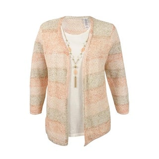 Alfred Dunner Women's Plus Size Striped Layered-Look Necklace Sweater - multi